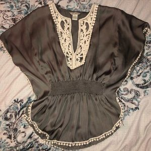 Gray Peplum Top with Lace Details